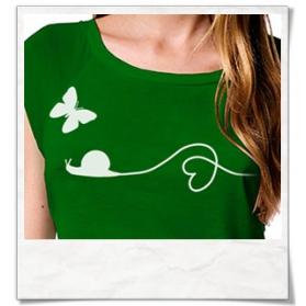 Bambus T-Shirt / Top Schnecke und Schmetterling in Grün