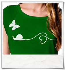Snail and Butterfly in love / women T-Shirt / Green / Fair and Organic