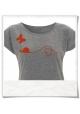 T-Shirt Schmetterling & Schnecke. Grau meliert