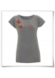 Women's T-Shirt in grey Snail and Butterfly in love / Fair Wear