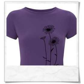 T-Shirt Blumen, Fair Wear & Biobaumwolle in Violett