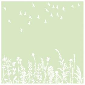 Blumenwiese & Vögel Druck auf Holzschliffpappe