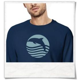 """Männer Sweatshirt """" Sonnenuntergang mit Delfin """" aus Biobaumwolle"""