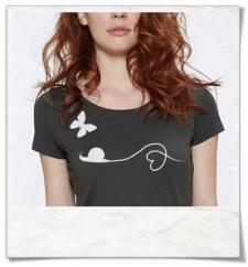 T-Shirt Schmetterling & Schnecke aus Biobaumwolle in Anthrazit