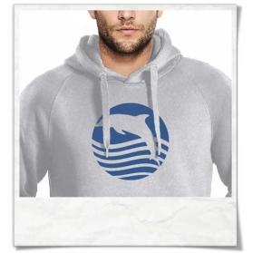 Sonnenuntergang mit Delfin Männer Hoodie in Grau Biobaumwolle & Fair Wear
