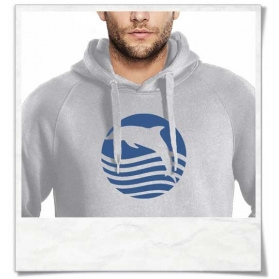 Sunset with Dolphin Hoody for Men in grey, Organic Cotton & Fair Wear