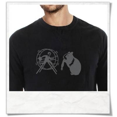Langarm Männer T-Shirt Hamster & der Hamsterrad in Schwarz