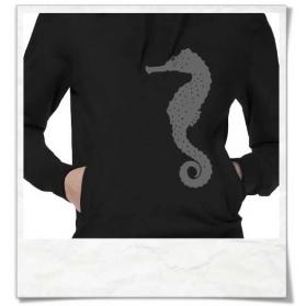 Women's hoodie / Hoody Seahorse in black