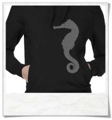 Seepferdchen Hoodie für Frauen in Schwarz Fair & aus Biobaumwolle
