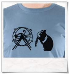 Langarm T-Shirt aus Biobaumwolle Hamster & der Hamsterrad in Blau
