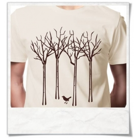 Mens's T-Shirt The bird in the forest, Fair Wear & Organic Cotton in beige