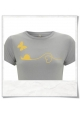 Snail and Butterfly in love / women T-Shirt / Gray & Yellow / Fair Organic and Eco