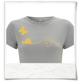 T-Shirt Schnecke & Schmetterling T-Shirt aus Biobaumwolle & fair Wear in Grau und Gelb
