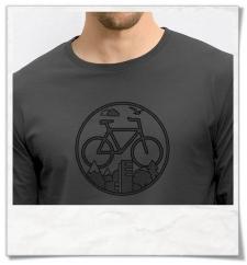 """Fahrrad Langarm T-Shirt in Grau Fair hergestellt & aus Biobaumwolle. Fahrrad-Shirt """"Unter den Wolken"""""""
