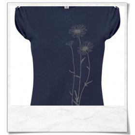 Blumen T-Shirt in Dunkel-blau / Navy-Blau Fair hergestellt