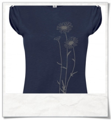 Blumen T-Shirt in Dunkel-blau / Navy-Blau Fair Wear