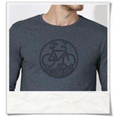 Fahrrad Langarm Männer T-Shirt in Blau