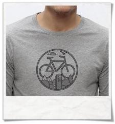 T-Shirt mit Fahrrad Logo / Natur & Stadt Langarm Männer T-Shirt