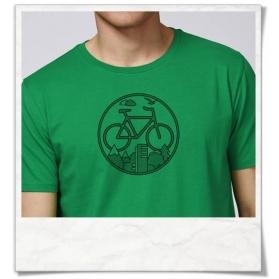 "T-Shirt Fahrrad print / Radfahrer-Shirt Fahrrad / Bike T-Shirt aus Biobaumwolle & Fair Wear in Grün & Schwarz. Fahrrad-Shirt ""U"