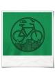 T-Shirt mit Fahrrad print Unter den Wolken aus Biobaumwolle & Fair hergestellt in Grün