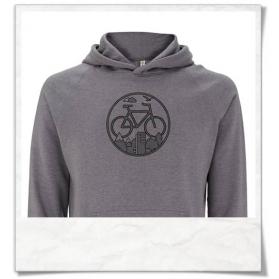 """Fahrrad-Hoodie / Kapuzenpullover """"Unter den Wolken"""" für Männer in Grau & Schwarz recyclet"""