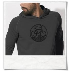 Hoodie mit Fahrrad / Bike print Unter den Wolken T-Shirt in Grau fair hergestellt & aus Biobaumwolle.