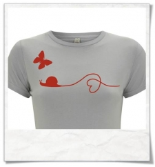Snail and Butterfly / women T-Shirt / Red & gray / Fair Organic and Eco