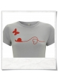 Organic cotton Tee Snail and Butterfly in red and gray