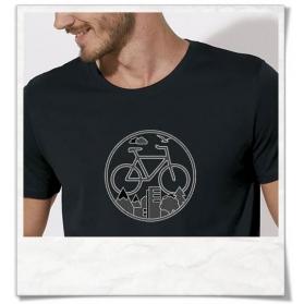 """Unter den Wolken T-Shirt mit Fahrrad motiv in Schwarz , Fahrrad / Bike fair hergestellt & aus Biobaumwolle. Shirt """"Unter den"""