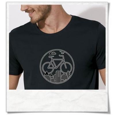Shirt mit Fahrrad-Motiv / kurzarm T-Shirt Bike für Männer in Schwarz