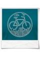 T-Shirt mit Fahrrad print Unter den Wolken aus Biobaumwolle & Fair hergestellt in Blau