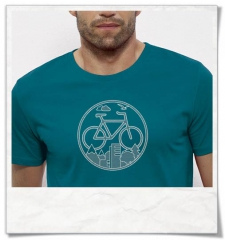 Bike T-Shirt organic cotton & Fair Wear in blue