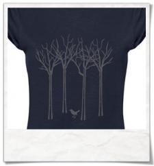 Vogel im Wald / Frauen T-Shirt / Blau / Navy / Fair Wear