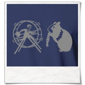 Hamster, out of the hamster wheel :) T-Shirt in Blue