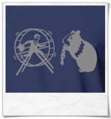 Hamster und der Hamsterrad T-Shirt in Blau