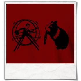 Hamster und Hamsterrad T-Shirt in Rot aus Biobaumwolle