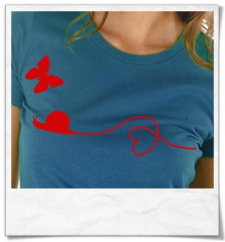 Snail and Butterfly in love / women T-Shirt / Blue / Fair Organic and Eco