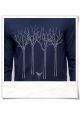 Vogel im Wald Langarm Männer T-Shirt / Navy / Fair und Bio