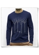 The bird in the forest / Longsleeve men T-Shirt / Navy / Fair and Organic