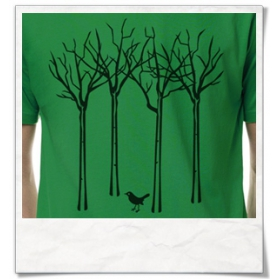 "T-Shirt in green "" The bird in the forest """