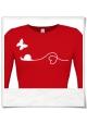 Liebe zwische Schnecke und Schmetterling / Langarm Frauen T-Shirt / Rot / Fair Wear