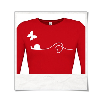 Snail and Butterfly in love / Longsleeve women T-Shirt / Red / Fair Wear