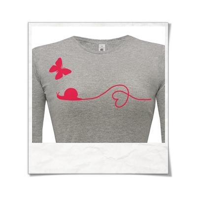 Liebe zwische Schnecke und Schmetterling / Langarm Frauen T-Shirt / Grey / Fair Wear