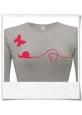 Langarm T-Shirt Schnecke & Schmetterling in Grau