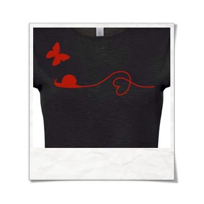 Snail and Butterfly in love / Women T-Shirt / Black / Fair Wear