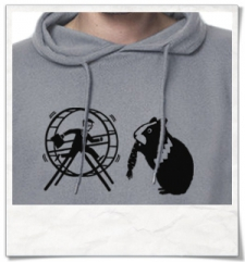 Hamster / Hamsterwheel / men Hoodie / Grau / Fair Organic and Eco