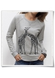 Giaffe / Giraffen Frauen Damen Sweatshirt Grau / Liebe / Love Fair trade & Bio