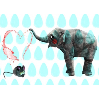 Elefant & Maus / Postkarte
