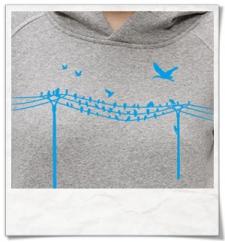 Vögel auf einem Elektromast Hoodie
