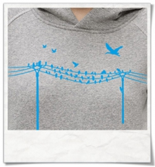 Vögel & Elektromast / Frauen kapuzenpullover / Grau / Fair und Bio